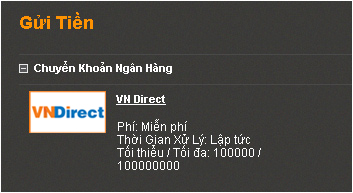Gửi tiền 188Bet bằng Vn Direct