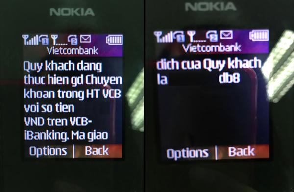 Nhập mã OTP từ tin nhắn gửi về điện thoại