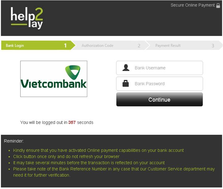 Nhập tên truy nhập và password Internet banking