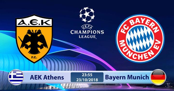 Soi kèo AEK Athens vs Bayern Munich 23h55, ngày 23/10: Lên ngôi đầu