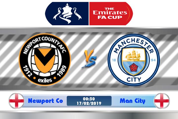 Soi kèo Newport County vs Man City 00h30 ngày 17/02: Không có cơ hội